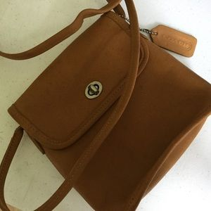 COACH Mini Brown Leather Coach CrossBody Bag